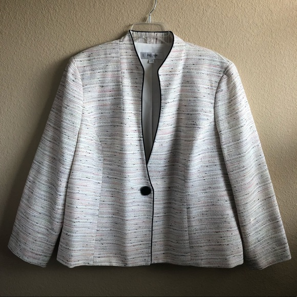 Jones Studio Jackets & Blazers - Jones Studio Separates Tweed Cream Pink Blazer
